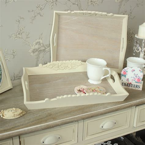 white distressed tray set of 2 wooden serving trays melody maison 174 1025