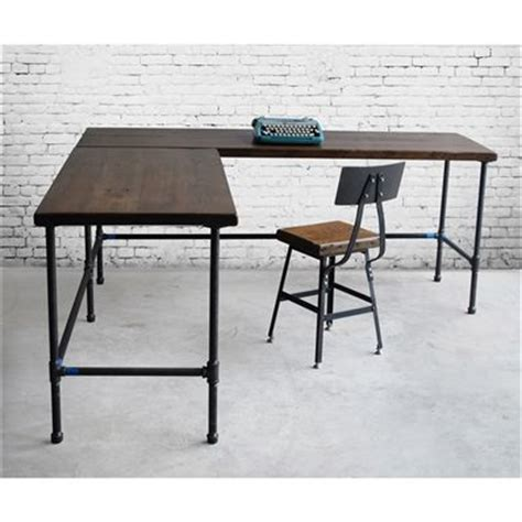 industrial l shaped desk buy a handmade reclaimed wood industrial styled l shaped