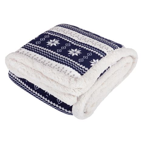Navy Throws For Sofa by Snowflake Design Luxury Fleece Blanket Soft Sherpa Throw