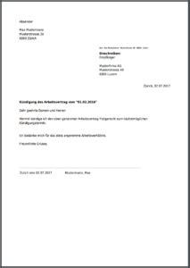 Kündigung Für Arbeitsvertrag Kostenlos Online Als Pdf