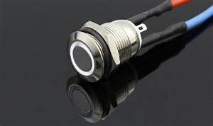 12mm Size White Led Stainless Steel Momentary Type Push