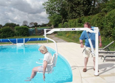 wheelchair accessible farmhouse pool with hoist normandy