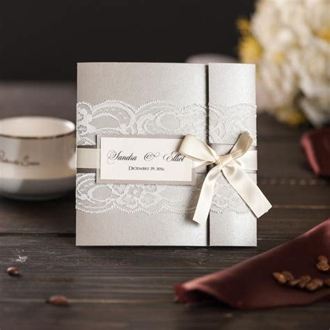 Aliexpress com : Buy Elegant Silver Wedding Invitations