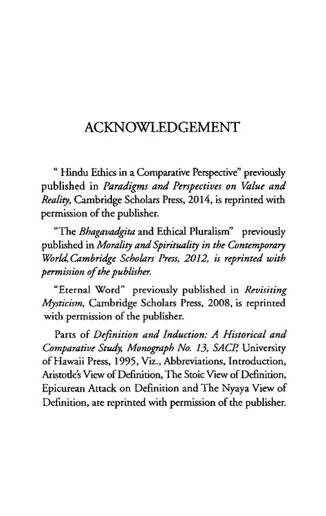 Acknowledgement - - Journal of Indian Philosophy and ...
