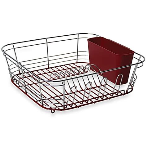 dish drainer small omni small chrome dipped dish drainer in red bed bath beyond