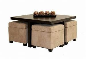 beautiful wood coffee table with nested storage ottomans With coffee table with nested ottomans