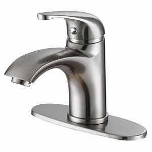 ELITE 57201BN Luxury Short Brushed Nickel Single Handle Bathroom Lavatory Faucet Bathroom Sinks