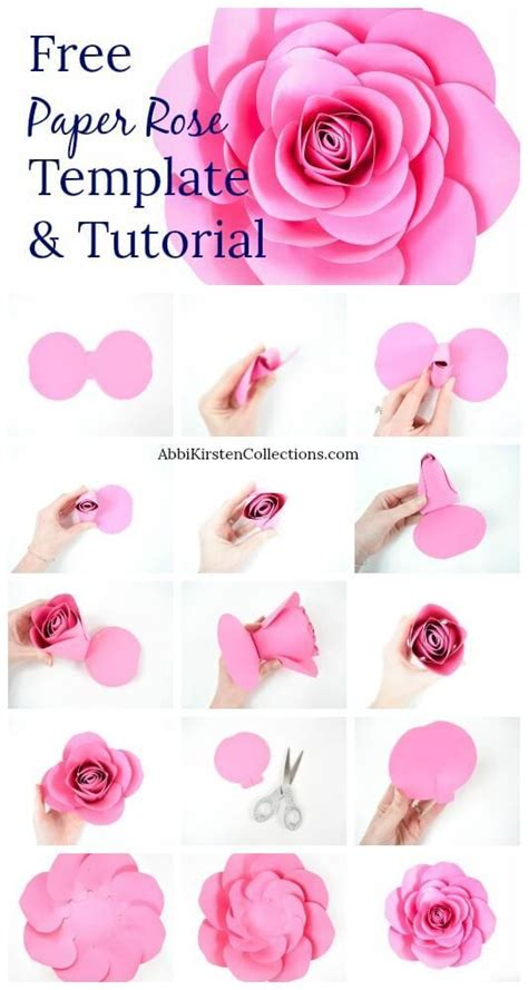 large paper rose template  paper flower