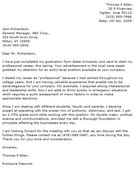 resume cover letter just graduated application cover