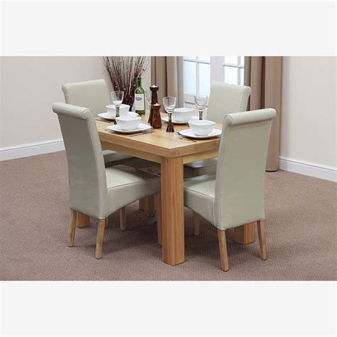 oak dining table chairs fresco 4ft solid oak dining table 4 cream leather scroll