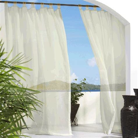 outdoor sheer curtains ivory tab top outdoor curtains