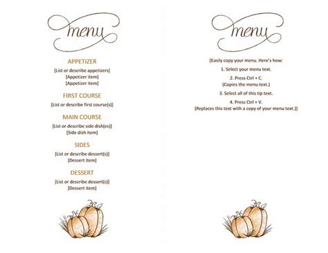 thanksgivng dinner pages template free printable thanksgiving menu templates happy easter