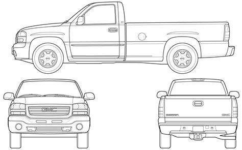 car blueprints  gmc sierra pick  blueprint art