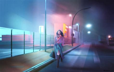 wallpaper city girl  cyberpunk painting digital