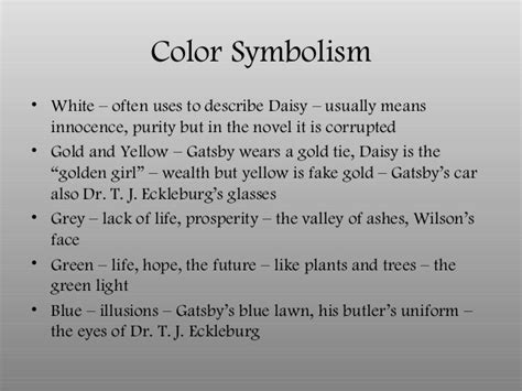 great gatsby colors what does the color white in the great gatsby