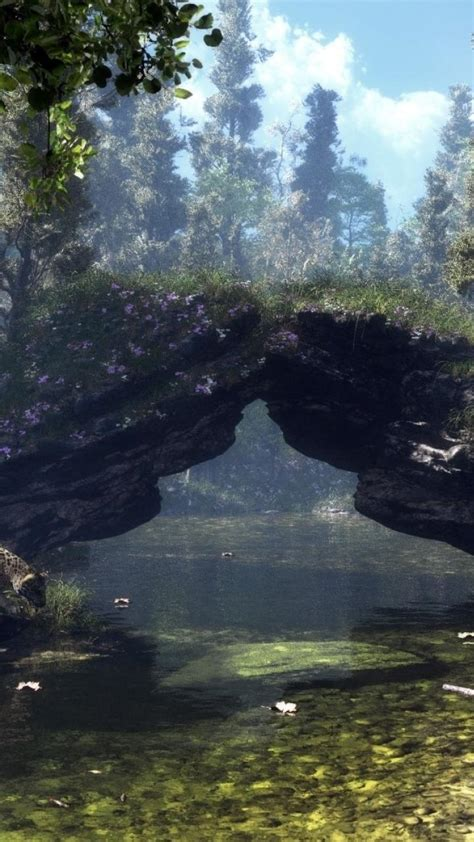 landscapes trees forest cgi rocks ponds wallpaper