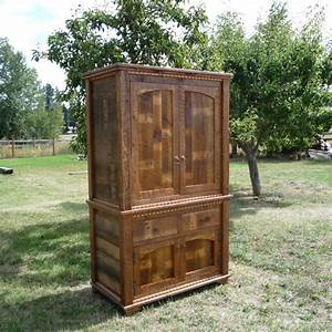 Homestead barnwood armoire with pocket doors for Barnwood pocket door