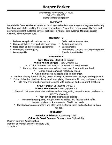 fast food restaurant service crew resume sle 28 images