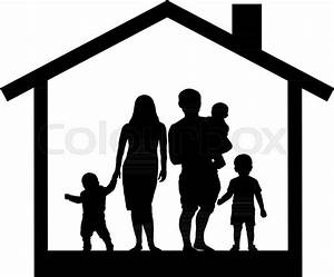 Large family house silhouette | Stock Vector | Colourbox