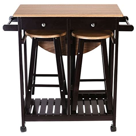 Kitchen Island With Wheels And Stools by Kitchen Island Rolling Cart Set Dinning Drop Leaf Table