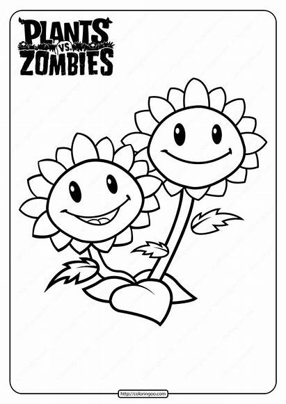 Zombies Coloring Plants Vs Printable Sunflower Twin