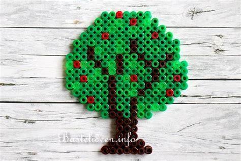 basteln mit kindern buegelperlen apfelbaum