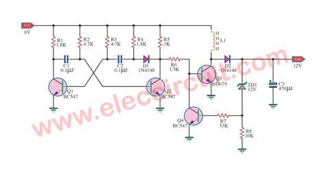 Circuit Diagram 12v To 6v by Simple 6v To 12v Boost Converter Circuit Using Bd679
