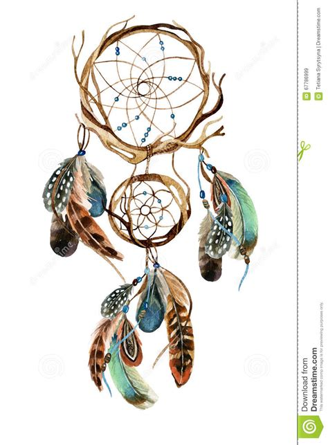 watercolor ethnic dreamcatcher stock illustration image