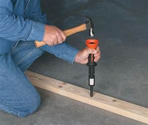 Use powder actuated nailer to drive nails in concrete for Nailing into concrete floor
