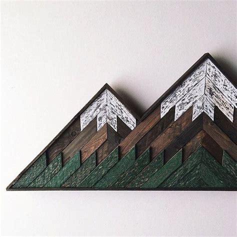 wood mosaic double peak mountain art   wooden wall