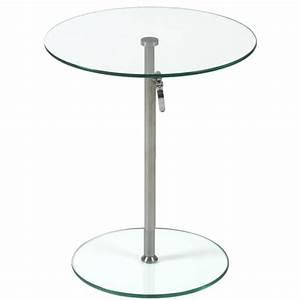 Rafaella Round Glass Side Table-Clear-Chrome Plant