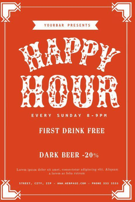 Happy Hour Flyer Templates Free Lovely Free Happy Hour