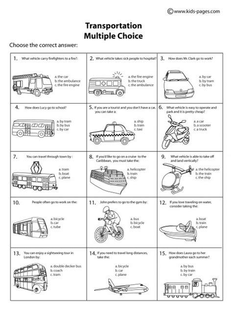 transportation choice b w worksheet