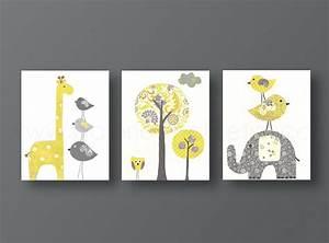 Yellow gray nursery art baby decor kids wall