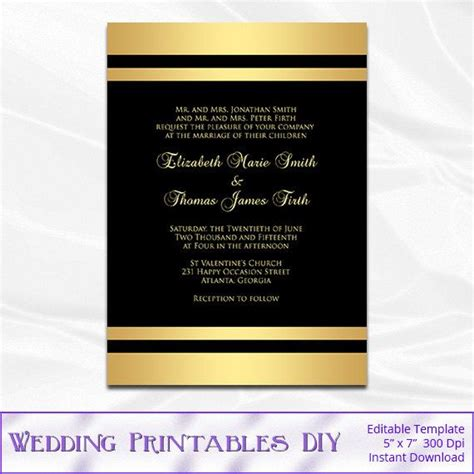 Black and Gold Wedding Invitation Template by