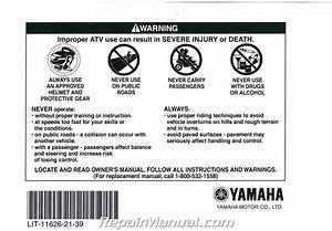2008 Yamaha Yfm250rx Raptor Atv Owners Manual