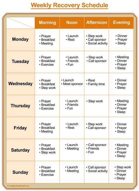 Addiction Recovery Needs  Recovery Weekly Schedule همراه