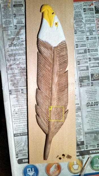 carving  eagle feather wood badge wood carving