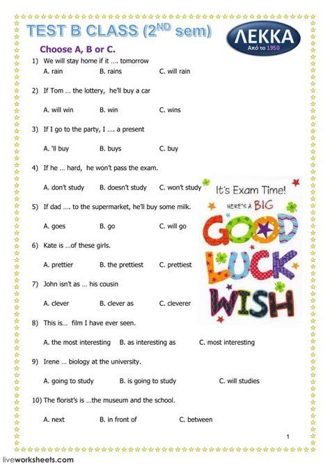 grammar test interactive worksheet