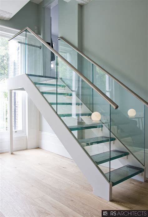 Stair Banister Glass by Picturesque Chrome Handrail With Glass Balustrade