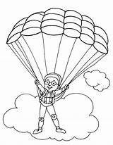 Parachute Coloring Parachuting Paratrooper Colouring Template Drawings Sketch Popular Picolour Templates 03kb 792px sketch template