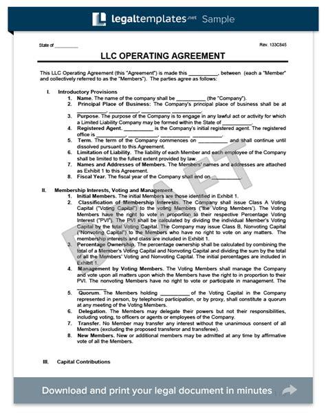 llc operating agreement template create a free llc agreement