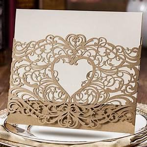 wedding invitations laser cut heart shape free customized With laser cut wedding invitations free samples
