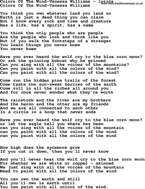 pocahontas lyrics paint all colors wind song lyrics for colors of the wind williams