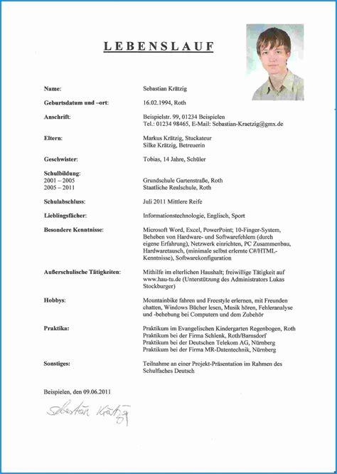 Lebenslauf Muster Praktikum by Oben Muster Tabellarischer Lebenslauf F 252 R Sch 252 Ler 13