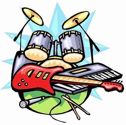 Rock Roll Band Clipart Cartoon Instruments Team