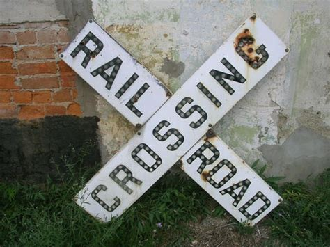 vintage rare original porcelain railroad crossing sign