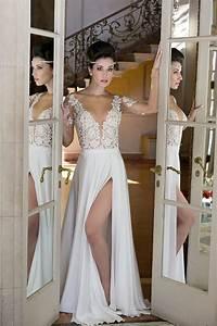 elegant long sleeve appliques 2018 wedding dress chiffon With wedding dress with split