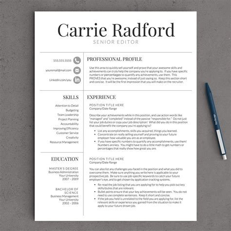 Professional Cv Template Word by Professional Resume Template For Word Pages