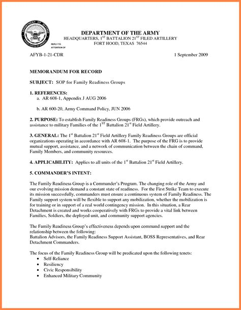 Us Army Memorandum For Record Template by 9 Memorandum For Record Army Marital Settlements